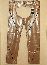 ANDREW CHRISTIAN Gold Metalic Open Gusset Full Length Pants Chaps NEW Mens 36