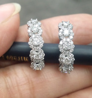 STEAL DEAL! 1.10 Carat Natural Round Diamonds Hoops Huggies Earrings in 14k Gold