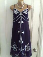 LAdies Size10. Debut (Debenhams) Black chiffon style. Sequin evening dress.