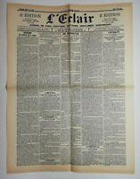 N605 La Une Du Journal L'éclair 3 mai 1900 une inauguration, l'actualité