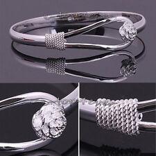 Sterling Silver Charm Vintage Flower Bangle Bracelet Jewellery Valentine Gift UK