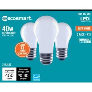 EcoSmart 40W A15 Replacement LED Soft White-3pack-Sold as Lot of 4 packs