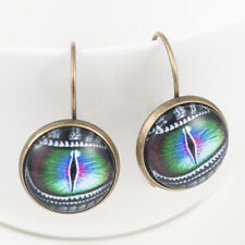 Retro Dragon's Eye Bronze Trendy Glass Cabochon Lever Back Earrings Gift 1Pair