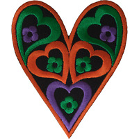 Heart Iron On Patch Sew On Embroidered Applique Hippie Flower Embroidery Badge