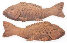 Antique Japanese Carved Wooden Fish Jizai Kagi Kettle Hook Edo Period Mingei Old