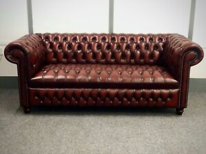 Chesterfield 3 Seater Cambridge Sofa In Antique Red Leather (Brand New)