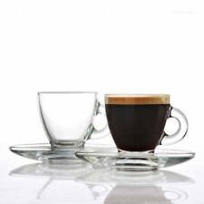 Ravenhead Glass Espresso Cups and Saucers Set of 4 Cups 80ml and 4 Saucers NEW