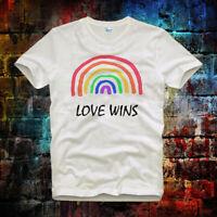 LGBT Rainbow Love Wins Gay pride soho Tee Top Unisex& Ladies  T Shirt 595B