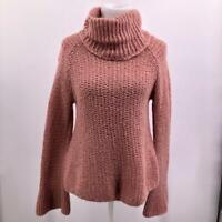 Calypso St. Barth  Pink Chunky Knit Turtle Neck Flared Sleeve Sweater Large