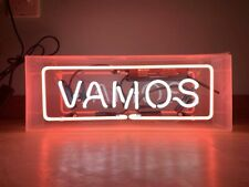 """Vamos Let's Go Neon Sign Lamp Light 14"""" Acrylic Box Beer Bar Glass With Dimmer"""