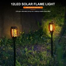 LED Solar Power Flame Effect Light Torch IP65 In-ground Garden Pathway Lawn Lamp