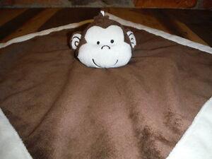 Brown Monkey Lovey Plush Toy Baby Security Blanket Tiddliwinks Safari Friend