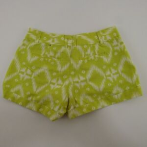 Banana Republic Ryan Fit Shorts Women's Size 0 Lime Green Linen Blend Geometric