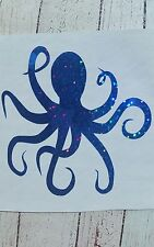 Octopus Decal Tumbler Car Glass Yeti RTIC Blue w/Holographic effect 3.5 h Beach