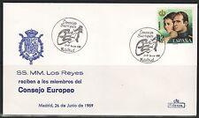 TEMA REY J.CARLOS I.  ESPAÑA. 1989. SOBRE SS.MM.RECIBEN MIEMBROS CONSEJO EUROPEO