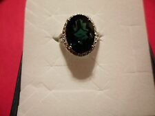 Simulated Emerald Oval Solitaire w/Diamond Accents Ring in Platinum Overlay