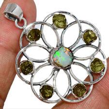 Celtic Flower - Ethiopian Opal Rough & Moldavite 925 Silver Pendant AP195978