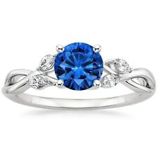 Certified 2.35Ct Round Blue Sapphire Engagement Wedding Band 14K White Gold Ring