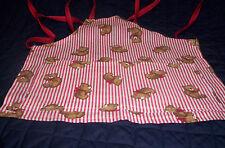 Handmade  boys,girls red,white strips,Teddy Bears cotton blend  toddler apron