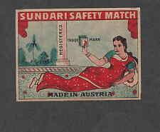 Ancienne étiquette  de paquet  allumettes  Autriche Sundari Femme Inde