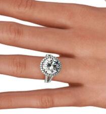 CERTIFIED GENUINE ESTATE HALO DIAMOND RING 6 PRONGS 5 CT 18 KT WHITE GOLD VVS