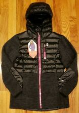 FREE COUNTRY GIRL'S DOWN HYBRID HOODED BLACK JACKET SIZE SMALL (7/8) THESPOT917
