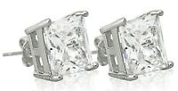 Square Ear Studs Crystal White Gold Filled Silver Earrings Pair 10mm