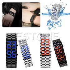 Women's Men's Volcanic Lava Iron Samurai Metal Faceless Bracelet Sport LED Watch
