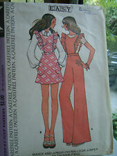 Vintage 70's Misses' Overalls or Jumper McCall's Sewing Pattern 3675 Size 9