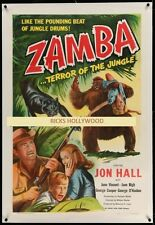 Original ZAMBA Linen Backed MOVIE THEATRE 1 Sheet BEAU BRIDGES RAISED BY GORILLA