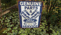 Vintage Signs Ford Genuine Parts And Service Garage Wall Man Cave Decor Sign NEW