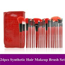 24pcs Superior Professional Soft Cosmetic Makeup Brush Set + Red Pouch Bag Case