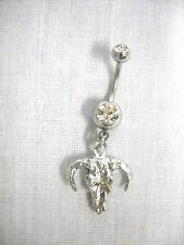 NEW DETAILED BOVINE BULL SKULL CHARM ON DBL CLEAR CZ NAVEL BAR BELLY BUTTON RING