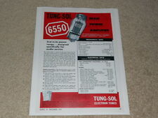 Tung-Sol 6550 BEAM Tube Ad, 1 pg, Article, Specs, Info
