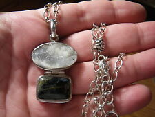 """Solid Sterling silver 925 Handmade Natural Stones pendant and 24""""chain set 33.4g"""