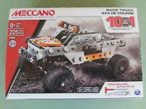 Meccano Erector 10 in 1 Model 4x4 Race Truck Building Set 225 Pieces Open Box