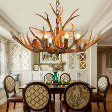 Rustic Vintage Resin Deer Horn Antler Large Candelabra Chandelier Pendant Light