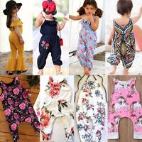 US Newborn Kids Baby Girls Floral Romper Playsuit Clothes Outfits Sunsuit ash