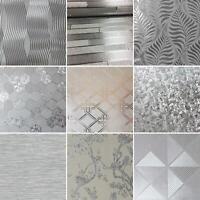 Silver Metallic Wallpaper Shimmer Vinyl Floral Brick Geometric Leaf Arthouse