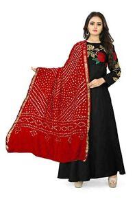 Women Bandhani Silk Dupatta Tippet Scarf Traditional Wear