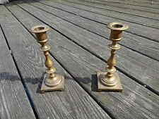 Two Antique Brass Candlestick Holders 7 1/2 Inches Tall Nice International Sale