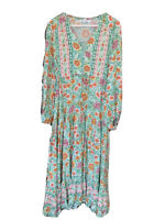 SALTY BRIGHT DRESS Floral Long Green Red Blue White BOHO CHIC MAXI 8 S SUMMER