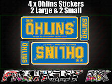 4x Ohlins Blue & Yellow Decals Stickers Suspension Bike Shock, motorcycle STUNT