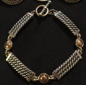 """James Avery Retired 14k Gold & Sterling Rope Link Bracelet 7.5"""""""