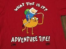 What Time Is It? Adventure Time! Large Red T Shirt Cartoon Network TV Show