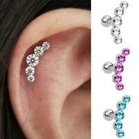 Women Cartilage Helix Tragus Piercing Ear Stud Earrings Gem Crystal Body Jewelry
