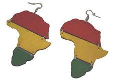 """MM Women's Africa Rasta Dangling Hoop Wooden Earrings with Silvertone 3"""" Long"""
