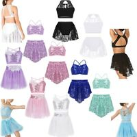 Toddler Kids Girls Dance Outfits 2 Piece Ballet Jazz Gym Crop Tops+Skirt Costume