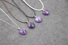 Purple AMETHYST Glass Crystal Love Heart Pendant with necklace(E434)