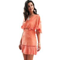 Women's High Waist Flutter Sleeve Embroidered Ruffle Mini Dress 10 12 AUS STOCK